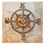 Solid-Brass Compass Rose