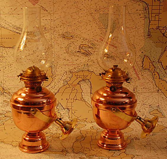 Matched Pair of Gimbaled Cabin Oil Lamps